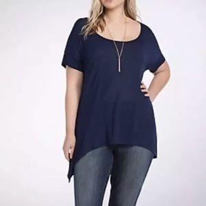Torrid navy blue striped lace inset tee size 5
